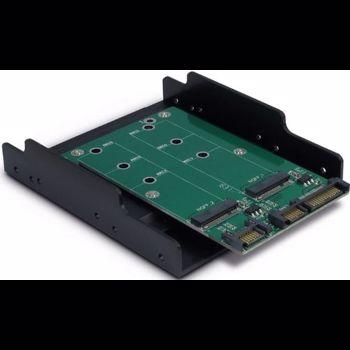 Adaptor Inter Tech KT005B 1x SATA Male - 2x M.2 SATA SSD kt005b