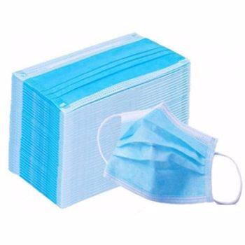 Set masti igienice de unica folosinta EVA, 3 straturi, 50 bucati, albastru