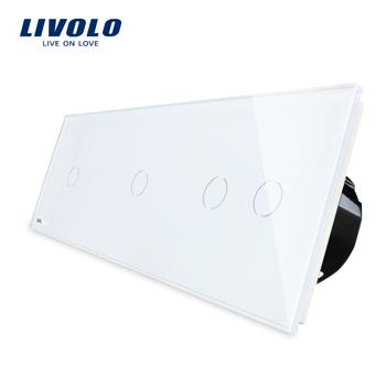 Intrerupator cu touch simplu+dublu+dublu LIVOLO din sticla Alb vl-c701/702/702-11