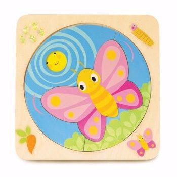 Puzzle educativ Dezvoltarea fluturelui, din lemn