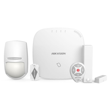Kit de alarma Wireless DS-PWA32-NKST Hikvision format din 1 x centrala DS-PWA32-HSR, 1 x detector wireless DS-PD2-P10P-W, 1 x contact magnetic DS-PD1-MC-WWS, 1 x telecomanda DS-PKFE5, 5 x cartele de proximitate DS-PTS-MF