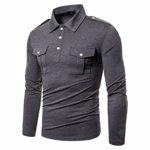 Tricou pentru barbati, din amestec de bumbac ?i in, culoare uni, tricou cu rever ?i maneci lungi, potrivit pentru timpul liber