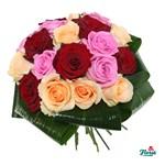 Buchet de 17 trandafiri multicolori