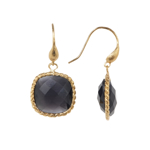 Bijuterii Femei Rivka Friedman Twsted Bezel Set Black Cats Eye Crystal Dangle Earrings BLACK CATS EYE