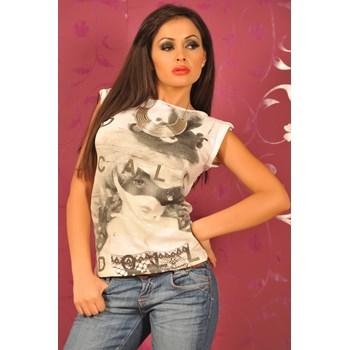 SIS92 Tricou cu imprimeu, din bumbac Sisley