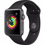 Apple Watch 3, GPS, Carcasa Space Grey Aluminium 38mm, Black Sport Band