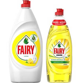 Pachet Promo Detergent de vase FAIRY Lemon, 800 ml + Detergent de vase FAIRY Extra+ Citrice, 650 ml
