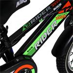 Bicicleta baieti Carpat Rider C1207C 12 inch V-Brake cu cosulet si roti ajutatoare 2-4 ani negru/verde