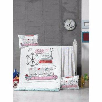 Set lenjerie de pat pentru copii, Victoria, bumbac ranforce, 100 x 150 cm, 121VCT2036, Alb
