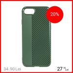 Husa Capac Spate Carbon Verde Apple iPhone 7, iPhone 8