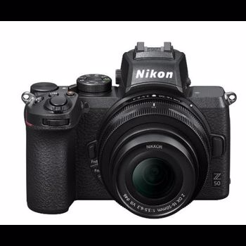 Aparat Foto Mirrorless Nikon Z50, 21MP, 4K, Wi-Fi, Bluetooth + Obiectiv NIKKOR Z DX 16-50mm f/3.5-6.3 VR (Negru)
