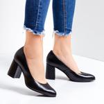 Pantofi dama piele naturala cu toc negri Nanisa