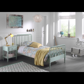 Set Mobila dormitor din lemn de pin si MDF, pentru copii 2 piese Alana Verde Mint, 200 x 90 cm