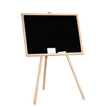 Tabla cu creta pentru copii, 65x48 cm, rama lemn, suport 3 picioare