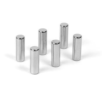 Magneti decorativi Cylinder, clasa 4, 5x15 mm, set 6 bucati, argintiu