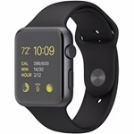 SmartWatch Apple Watch 1, Aluminium 42 mm, curea silicon, black-space grey