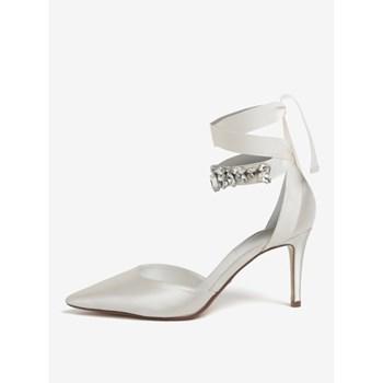 Pantofi crem din satin cu aplicatie decorativa Dune London Diamond