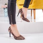 Pantofi cu toc dama leopard-bej Leonyna-20