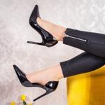 Pantofi dama cu toc negri Aolima