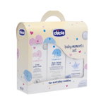 Set cosmetice Chicco Baby Moments, gel dus, sampon, lotiune si apa colonie