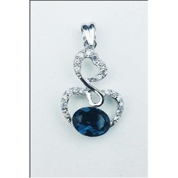 ACS260 Pandantiv din argint 925, decorat cu cristal Austria albastru si zirconiu cubic