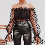 Bluza de primavara ?i vara pentru femei, model sexy transparent, cu dantela ?i buline, bluza cu tul