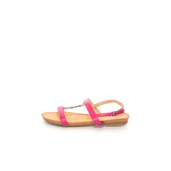 Sandale cu talpa joasa si accesorii metalice, piele sintetica si interior de piele naturala