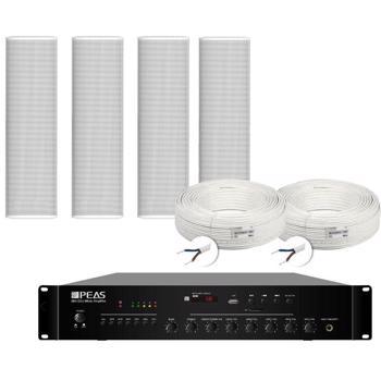 Kit sistem de sonorizare exterior cu 4 coloane 30W + mixer amplificator 120W