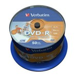 Mediu stocare Verbatim DVD-R 4.7GB 16x No ID brand Wide Inkjet Printable spindle 50 buc
