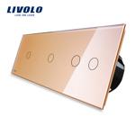 Intrerupator cu touch simplu+dublu+dublu LIVOLO din sticla Auriu vl-c701/702/702-13