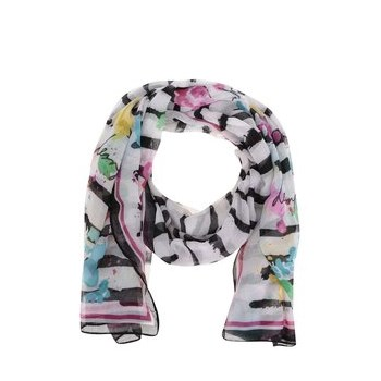 Esarfa Desigual Rectangle Marine alba, cu dungi