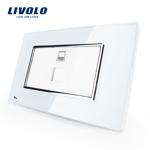 Priza internet Livolo cu rama din sticla - standard italian Alb vl-c391c-81