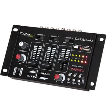Mixer audio 4 cai / 7 canale Ibiza DJ21USB-MKII