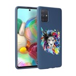 Husa Silicon Soft Upzz Print Candy Samsung Galaxy A51 Flower Lion Albastru
