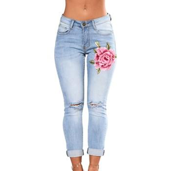 CL669-411 Jeans skinny cu floare brodate pe un picior