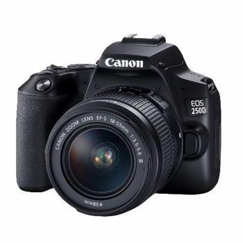 Aparat foto DSLR EOS 250D, 24.1 MP, Wi-Fi, 4K, Negru + Obiectiv EF-S 18-55mm, f/3.5-5.6 III