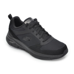 Pantofi sport SKECHERS negri, Arch Fit Servitica, din material textil si piele naturala