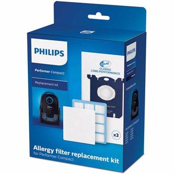 Kit de schimb Philips Performer Compact FC8074/02: 3 saci de praf S-bag® CLP, 1 filtru antialergic, 1 filtru de intrare pentru motor