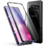 Husa Samsung Galaxy S10 Magnetica 360 grade Black Perfect Fit cu spate de sticla securizata premium + folie de sticla pentru ecran 01hmS10360