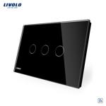 Intrerupator triplu wireless cu touch Livolo din sticla negru - standard italian vl-c303r-82