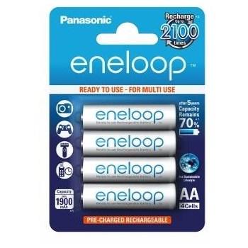 Acumulatori Panasonic Eneloop AA, 1900mAh, 2100 cicluri, preincarcati, blister 4 bucati