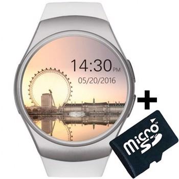Ceas Smartwatch cu Telefon iUni KW18, Touchscreen 1.3', Notificari, iOS, Android, White + Card 4GB