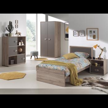 Set Mobila dormitor din pal, pentru copii 4 piese Emiel Maro / Stejar, 200 x 90 cm