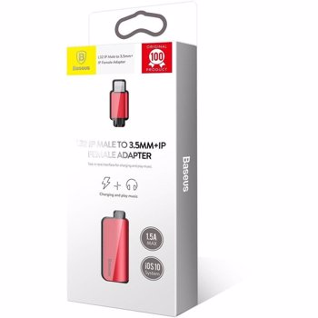 Adaptor Lightning la port Lightning si port Jack 3.5mm Baseus L32 Red call32-09