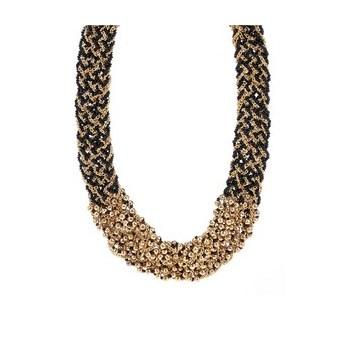 Colier negru cu auriu Pieces Pina tip impletitura