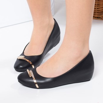 Pantofi Melisande negri cu platforma ascunsa