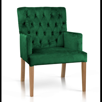 Fotoliu fix tapitat cu stofa, cu picioare din lemn Zara Verde / Stejar, l60xA66xH85 cm
