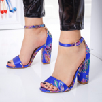 Sandale Lorrye albastre cu imprimeu -rl