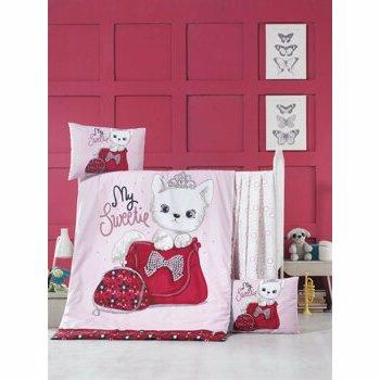 Set lenjerie de pat pentru copii, Victoria, bumbac ranforce, 100 x 150 cm, 121VCT2040, Multicolor