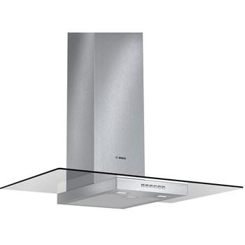Hota Bosch DWA097A50, decorativa, latime 90 cm, capacitate maxima 690 m³/h, 1 motor, 3 viteze + intensiv, filtre metalice, control prin electronic, paravan sticla, inox